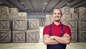 3d image of classic warehouse and smiling man