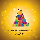 Christmas Festive Celebrations With Gift Boxes As Xmas Tree - Vector