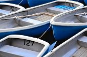 image of fleet  - A rental row boat fleet is tied together at the end of the day - JPG