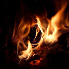 pic of hollow log  - A camp fire burns inside a hollow log - JPG