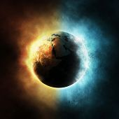 picture of planet earth  - The planet Earth surrounded with fire and water elements - JPG