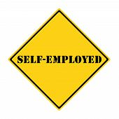 picture of self-employment  - A yellow and black diamond shaped road sign with the words SELF - JPG