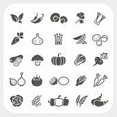 stock photo of zucchini  - Vegetable icons set isolated on white background - JPG