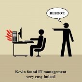 stock photo of reboot  - Kevin found IT management very easy indeed - JPG