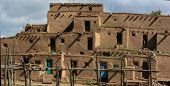 picture of pueblo  - View at the Taos Pueblo in New Mexico USA - JPG
