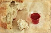 picture of communion-cup  - Communion bread loaf and wine on a grunge background - JPG
