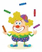 picture of circus clown  - Cheerful kind circus clown in colorful clothes juggling candies - JPG