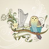 picture of lyre-flower  - illustration with owl sitting on the branches - JPG