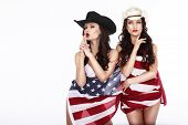 image of independent woman  - Fanciful Joyful Women Cowgirls and American Flag - JPG