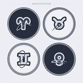 picture of gemini  - Zodiac and astrology signs from left to right top to bottom - 