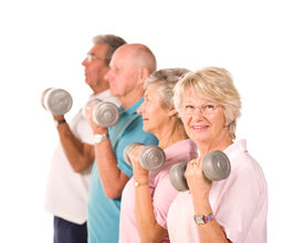picture of lifting weight  - Group of older senior people lifting weights in the gym - JPG