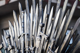 picture of sword  - throne made of swords in a medieval fair - JPG