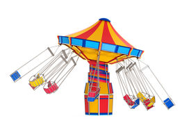 stock photo of swingers  - Carnival Swing Ride isolated on white background - JPG