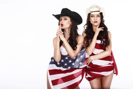 pic of cowgirl  - Fanciful Joyful Women Cowgirls and American Flag - JPG