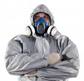 stock photo of decontamination  - A pest control worker wearing a mask - JPG