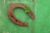 stock photo of wooden horse  - Old horse shoe - JPG
