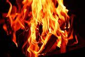stock photo of brazier  - Bonfire in brazier - JPG