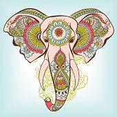 pic of indian elephant  - Vector Indian Decorative Elephant on the Henna Indian Ornaments - JPG