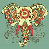 picture of indian elephant  - Vector Indian Decorative Elephant on the Henna Indian Ornaments - JPG