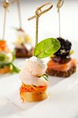 stock photo of canapes  - Seafood and Vegetables Canapes Dish - JPG