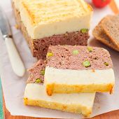 pic of meatloaf  - Beef Meatloaf with Green Peas Topped with Cheesy Mashed Potato - JPG
