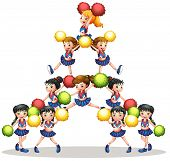 foto of cheerleader  - illustration of many cheerleaders - JPG
