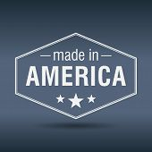 picture of hexagon  - made in America hexagonal white vintage label - JPG