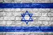 stock photo of israeli flag  - flag of Israel or Israeli banner on brick texture - JPG