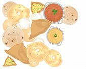 foto of samosa  - an illustration of indian snacks including vegetable samosas vaada chapati idly and poori scattered on a white background - JPG