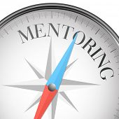 picture of mentoring  - detailed illustration of a compass with mentoring text - JPG