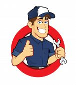 foto of cartoon character  - Clipart picture of a mechanic cartoon character with circle shape - JPG