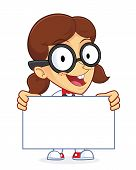 picture of dork  - Clipart Picture of a Girl Geek Cartoon Character Holding a Sign - JPG