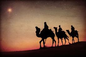 foto of desert christmas  - Three Kings Desert Star of Bethlehem Nativity Concept - JPG