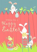 foto of easter eggs bunny  - Easter bunnies and easter eggs - JPG