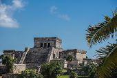 stock photo of mayan  - Mayan Ruins Besides Caribbean Sea - JPG