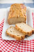 foto of home-made bread  - Home made Sliced Banana Bread on a table - JPG