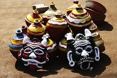 picture of kalash  - Decorative pots with nazar battus at a market stall - JPG