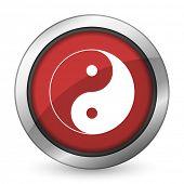 stock photo of ying-yang  - ying yang red icon   - JPG