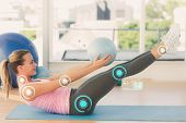 foto of stretch  - Sporty young woman stretching body in fitness studio against fitness interface - JPG