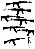 picture of sub-machine-gun  - Modern automatic weapons on a white background - JPG