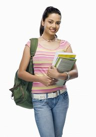foto of x-files  - Portrait of a female college student holding files - JPG