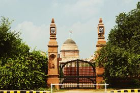 stock photo of rashtrapati  - Entrance of a government building - JPG