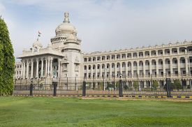 picture of vidhana soudha  - Government building viewed from a garden - JPG