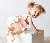 picture of crawl  - Portrait of a cute pretty little girl crawling - JPG
