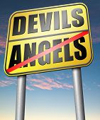 pic of hells angels  - devils and angels good or bad heaven and hell road sign arrow - JPG