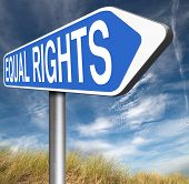 stock photo of all-inclusive  - equal rights no discrimination and same opportunities for all women man equality road sign - JPG
