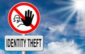 foto of stealing  - identity theft stop warning sign stealing ID online is an internet or cyber crime - JPG