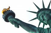 pic of torches  - The Head And The Torch Of The Statue Of Liberty On White Background - JPG