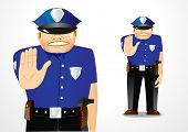 picture of policeman  - illustration of serious policeman showing stop gesture - JPG