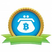 foto of bitcoin  - Certificate seal with image of purse with bitcoin symbol - JPG